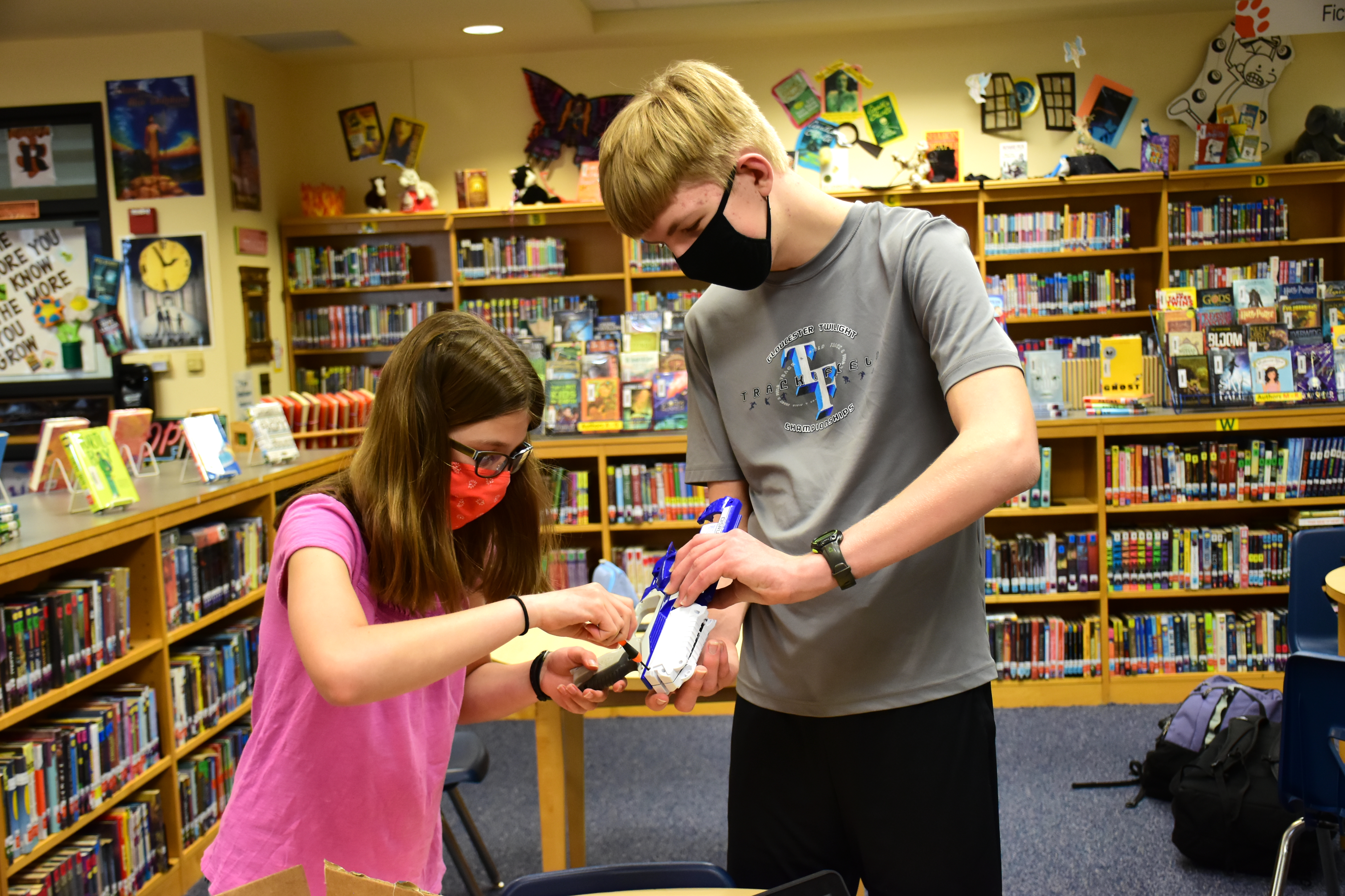 Students collaborate on a project in Virginia's York County School Division.
