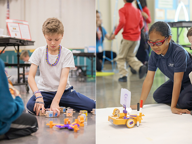 Children play with KIBO Robot kits at KinderCare. (Images provided)