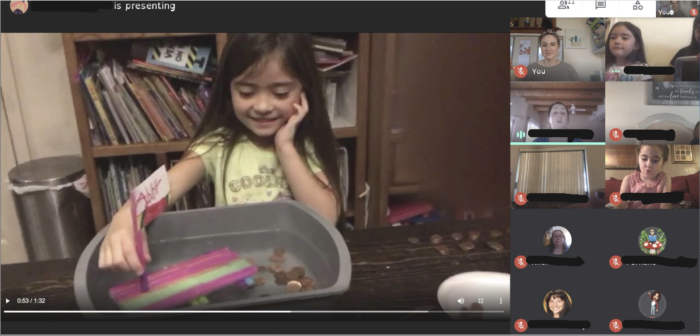 A Santa Fe kindergarten student shares her buoyancy project during her school's virtual science fair.