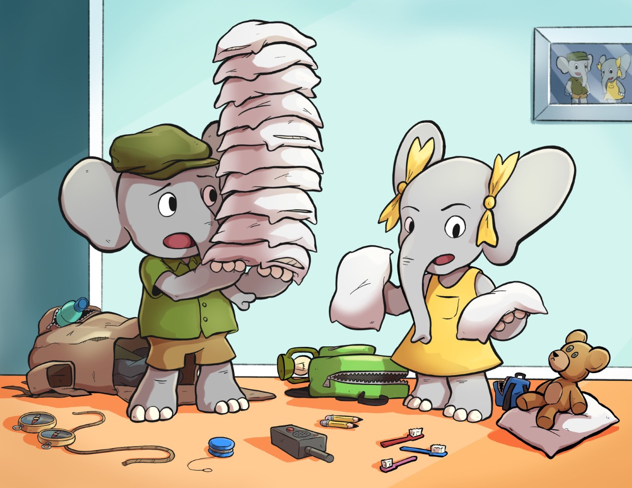 """The Little Elephants plan a sleepover in David Purpura's early math picture book """"Too Many Pillows."""""""