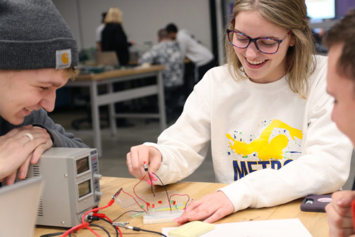 Students work together on an engineering project at the Sioux City Career Academy in Iowa.